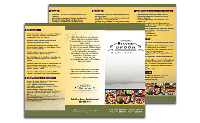 Silver Spoon Catering: tri-fold brochure